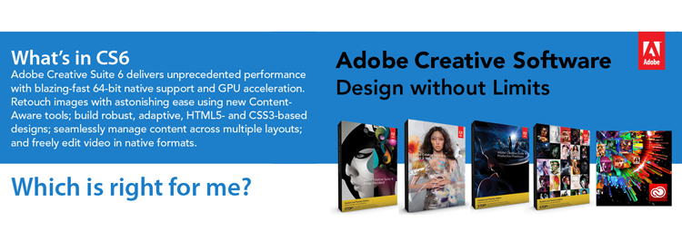Adobe Creative Suite 6 delivers unprecedented performance and blazing-fast 64-bit native support and GPU acceleration. Retouch images with astonishing ease using new Content-aware tools; build robust, adaptive HTML5 and CSS3-based designs, and seamlessly manage content across multiple layouts; and freely edit video in native formats.